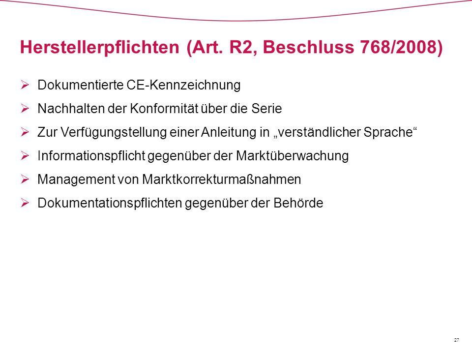 Herstellerpflichten (Art. R2, Beschluss 768/2008)
