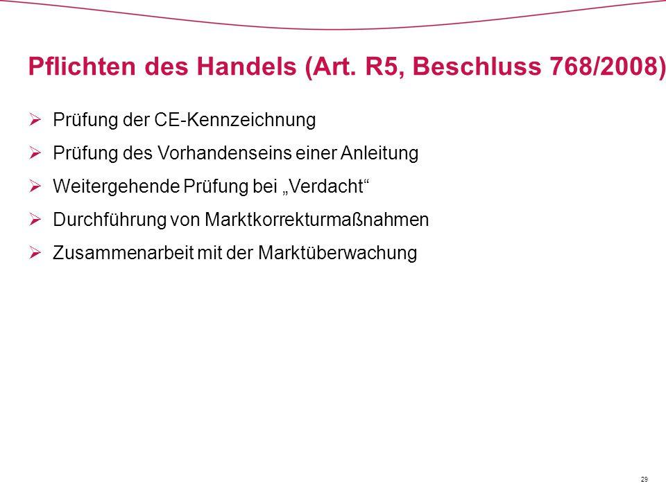 Pflichten des Handels (Art. R5, Beschluss 768/2008)