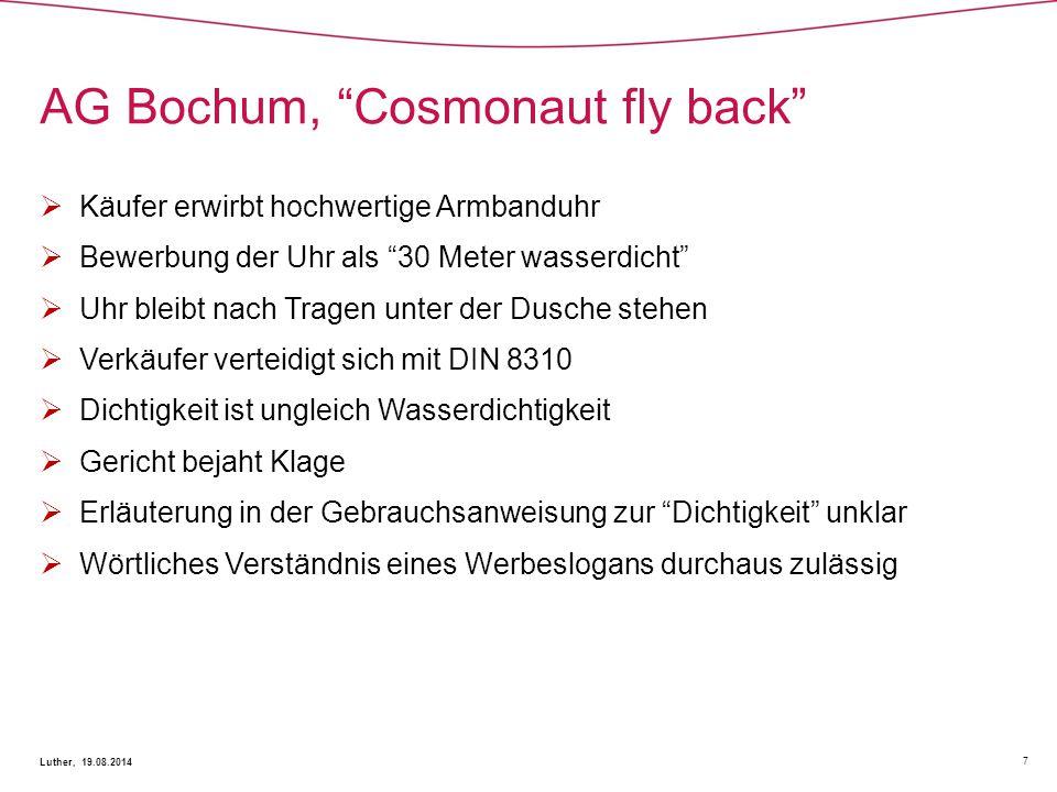 AG Bochum, Cosmonaut fly back