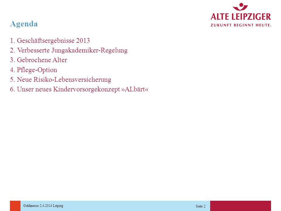 Agenda 1. Geschäftsergebnisse 2013