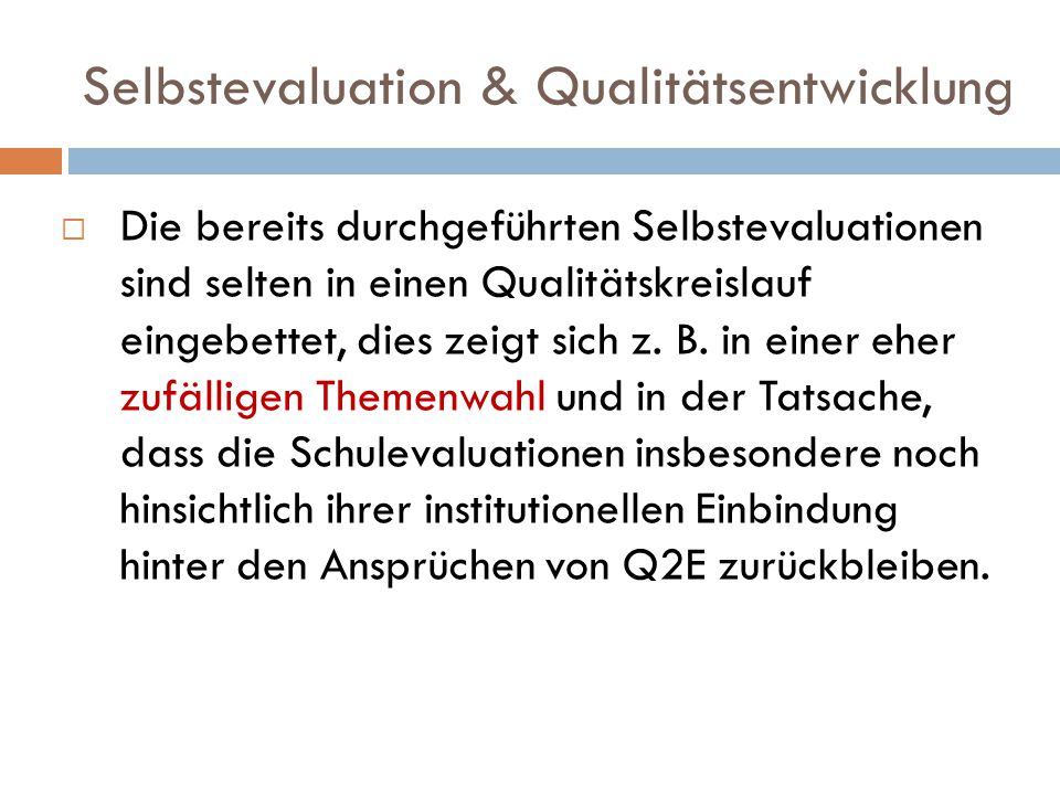 Selbstevaluation & Qualitätsentwicklung