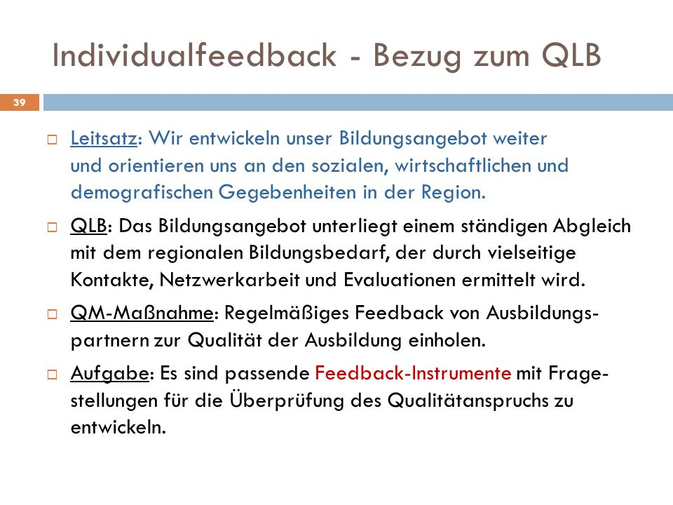 Individualfeedback - Bezug zum QLB