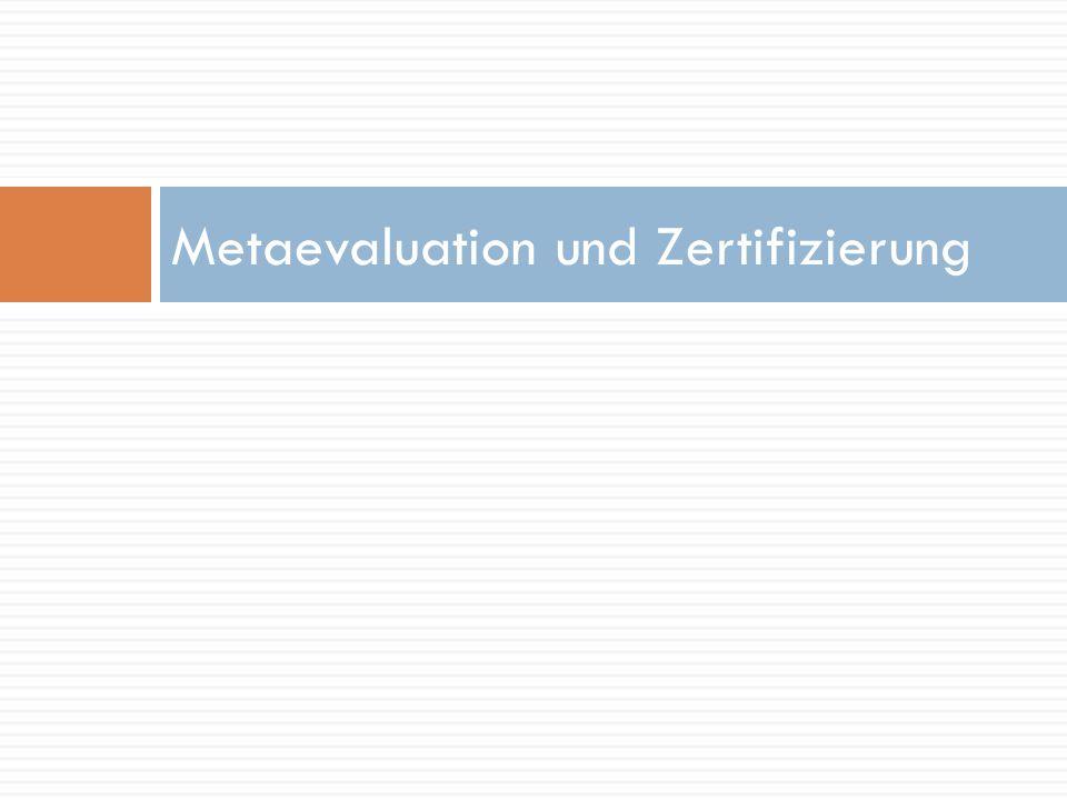 Metaevaluation und Zertifizierung