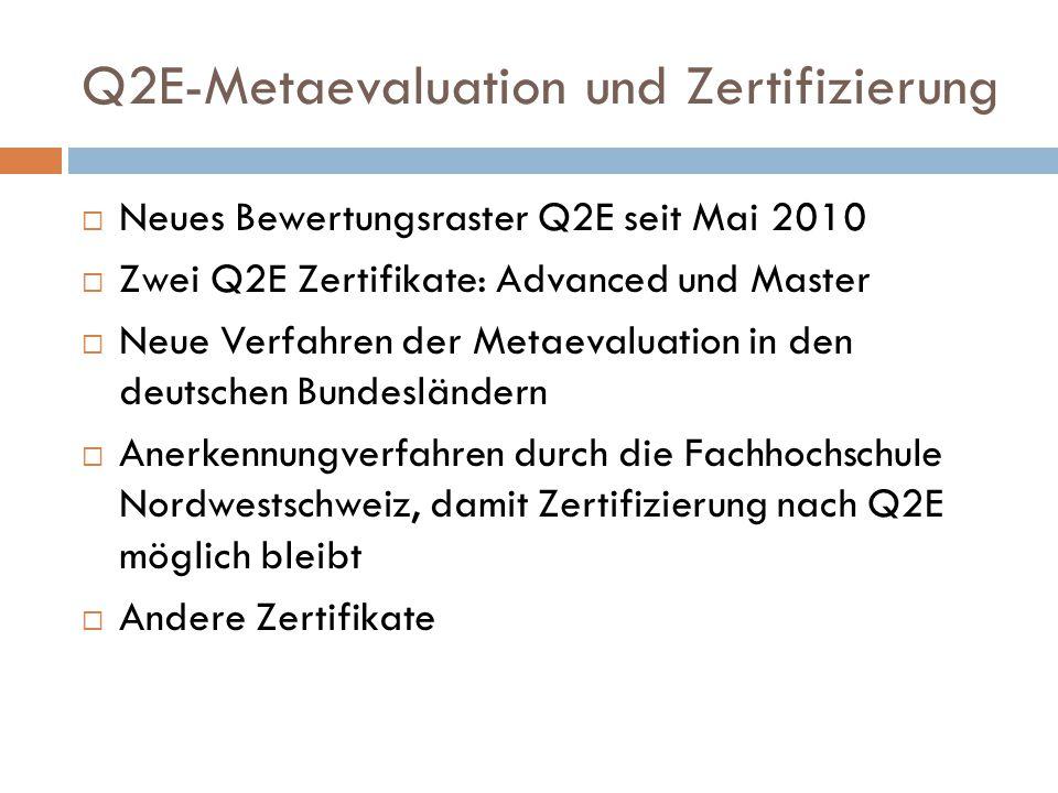 Q2E-Metaevaluation und Zertifizierung
