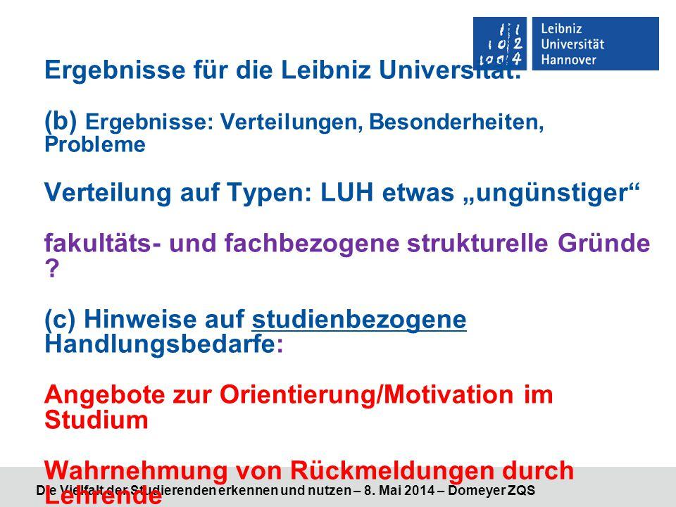 """Ergebnisse für die Leibniz Universität: (b) Ergebnisse: Verteilungen, Besonderheiten, Probleme Verteilung auf Typen: LUH etwas """"ungünstiger fakultäts- und fachbezogene strukturelle Gründe (c) Hinweise auf studienbezogene Handlungsbedarfe: Angebote zur Orientierung/Motivation im Studium Wahrnehmung von Rückmeldungen durch Lehrende Hilfestellung und Anleitung zum Selbststudium"""