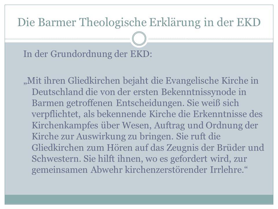 Die Barmer Theologische Erklärung in der EKD