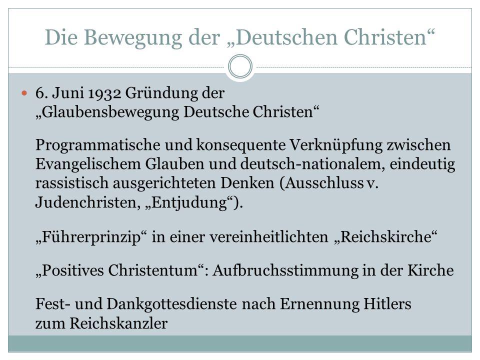 """Die Bewegung der """"Deutschen Christen"""