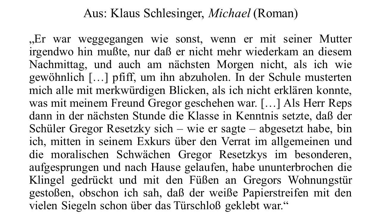 Aus: Klaus Schlesinger, Michael (Roman)