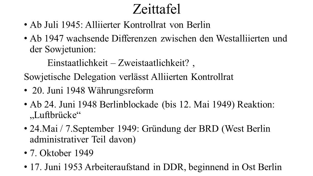Zeittafel Ab Juli 1945: Alliierter Kontrollrat von Berlin