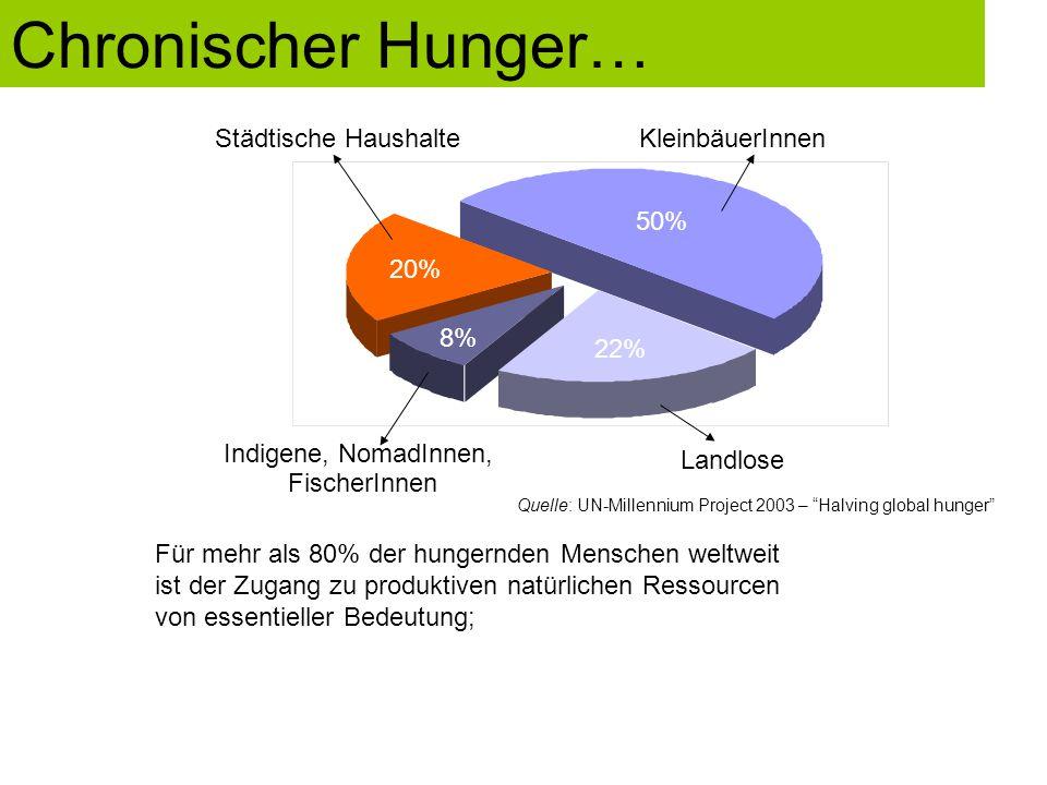 Chronischer Hunger… Städtische Haushalte KleinbäuerInnen 50% 20% 8%