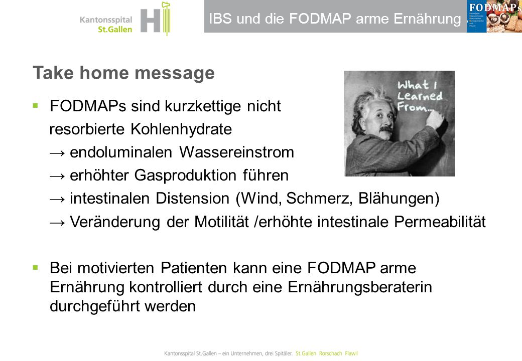 Take home message FODMAPs sind kurzkettige nicht