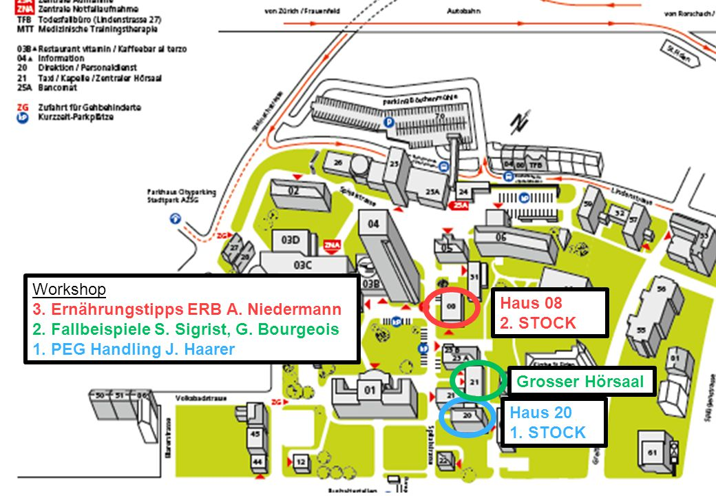 Workshop 3. Ernährungstipps ERB A. Niedermann. 2. Fallbeispiele S. Sigrist, G. Bourgeois. 1. PEG Handling J. Haarer.