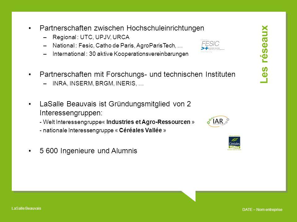 Les réseaux Partnerschaften zwischen Hochschuleinrichtungen