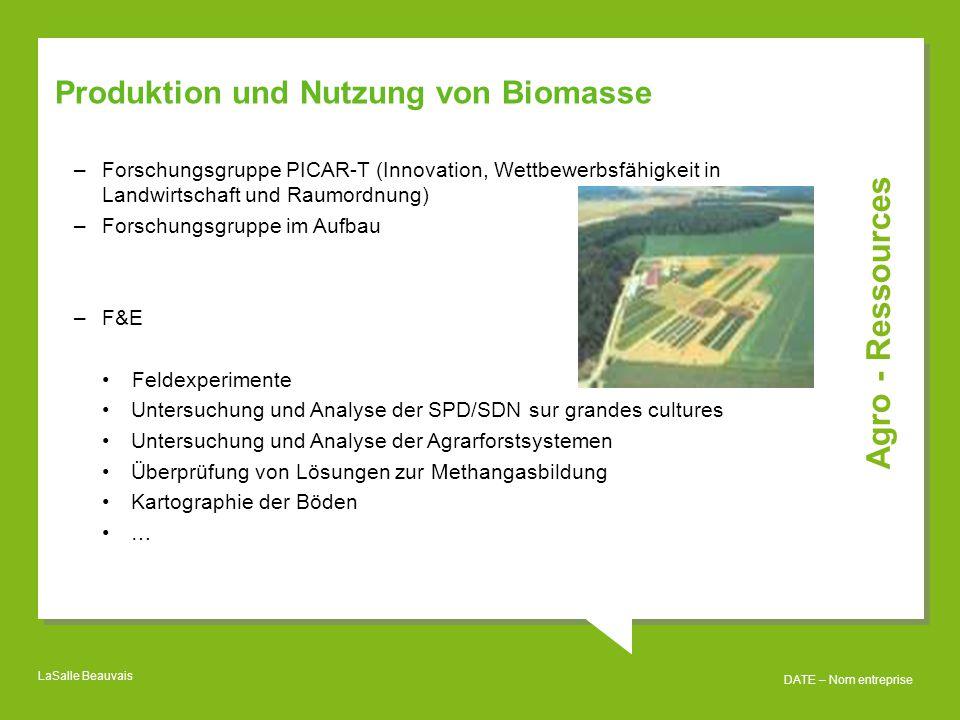 Agro - Ressources Produktion und Nutzung von Biomasse