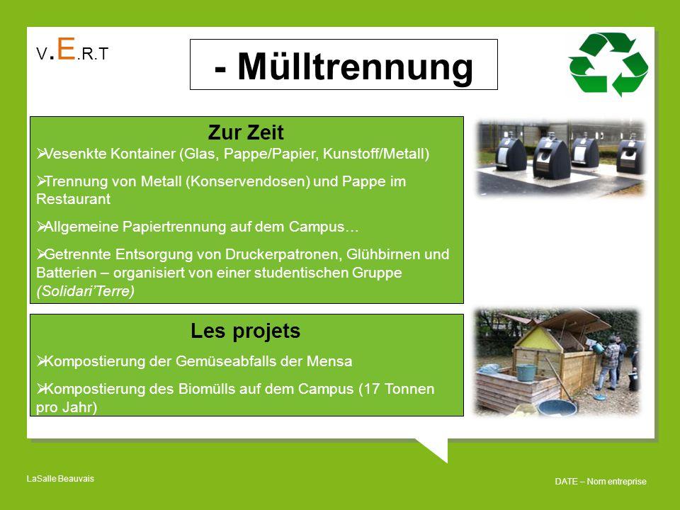 - Mülltrennung Zur Zeit Les projets V.E.R.T