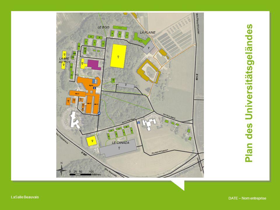 Plan des Universitätsgeländes