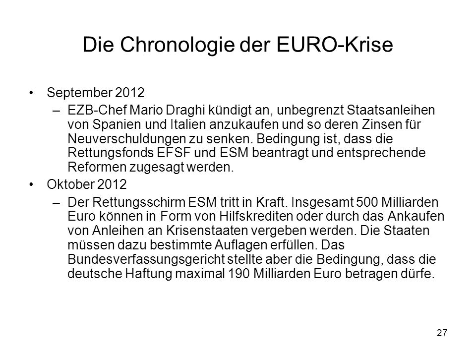 Die Chronologie der EURO-Krise