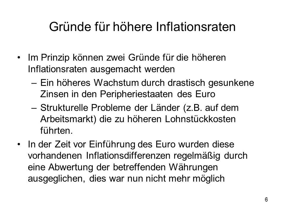 Gründe für höhere Inflationsraten