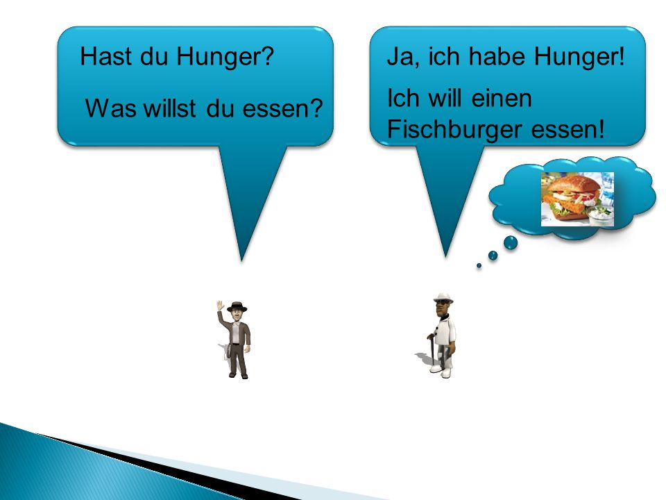 Hast du Hunger Ja, ich habe Hunger! Ich will einen Fischburger essen! Was willst du essen