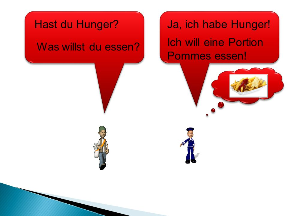 Hast du Hunger Ja, ich habe Hunger! Ich will eine Portion Pommes essen! Was willst du essen