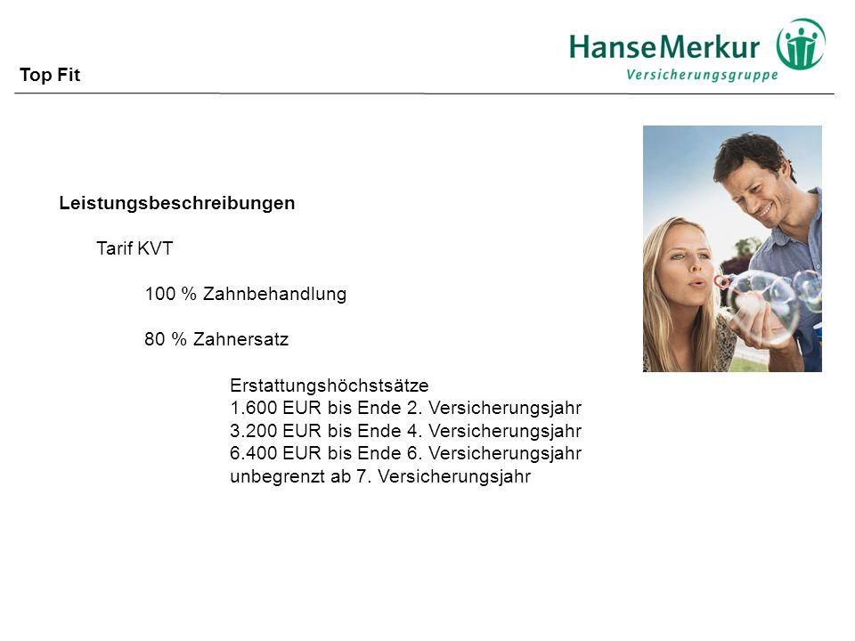 Top Fit Leistungsbeschreibungen. Tarif KVT. 100 % Zahnbehandlung. 80 % Zahnersatz. Erstattungshöchstsätze.