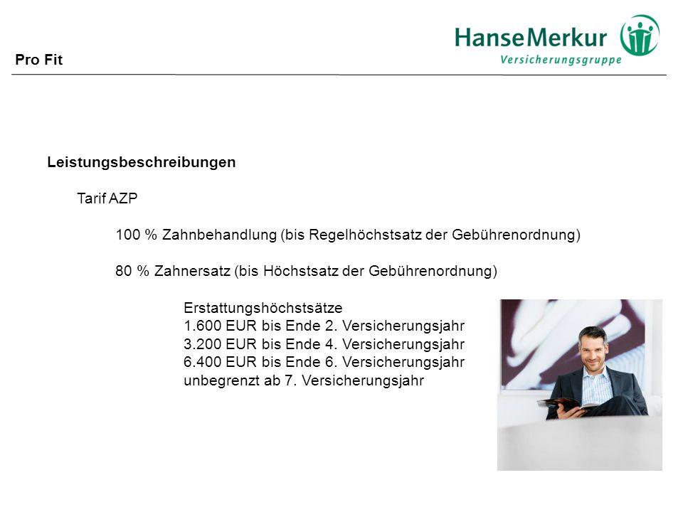 Pro Fit Leistungsbeschreibungen. Tarif AZP. 100 % Zahnbehandlung (bis Regelhöchstsatz der Gebührenordnung)