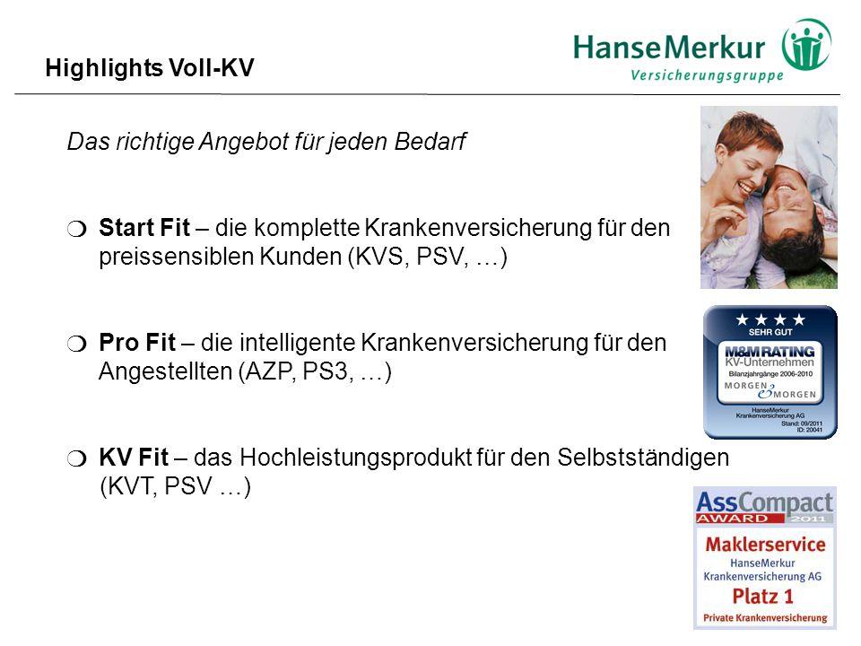 Highlights Voll-KV Das richtige Angebot für jeden Bedarf.