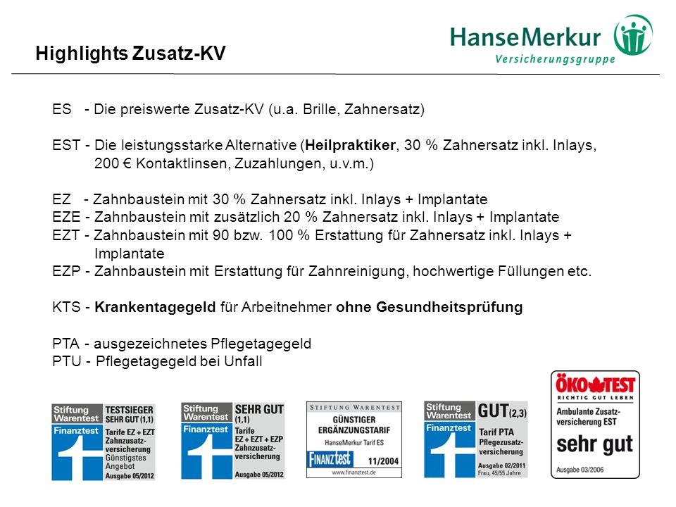 Highlights Zusatz-KV ES - Die preiswerte Zusatz-KV (u.a. Brille, Zahnersatz)