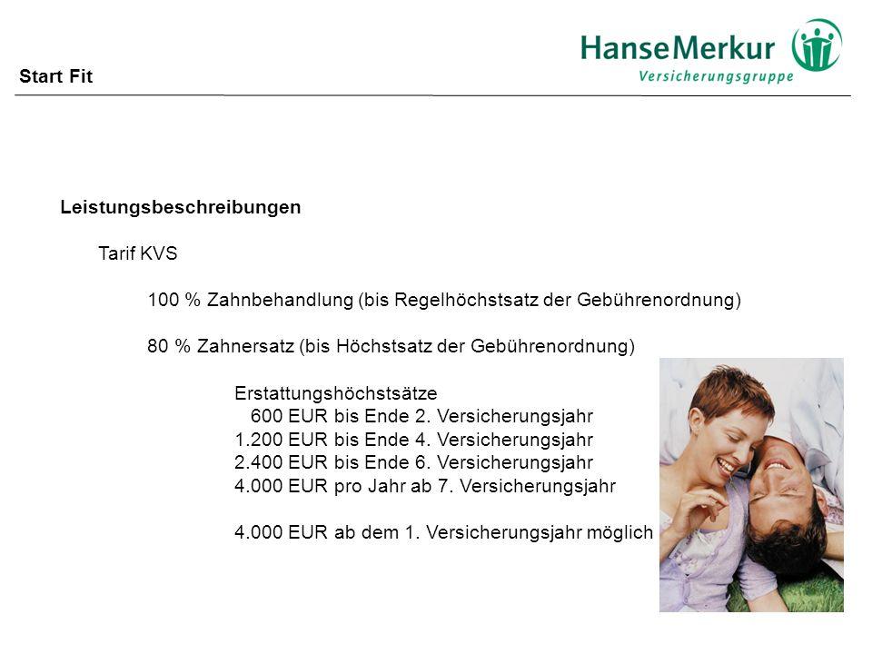 Start Fit Leistungsbeschreibungen. Tarif KVS. 100 % Zahnbehandlung (bis Regelhöchstsatz der Gebührenordnung)