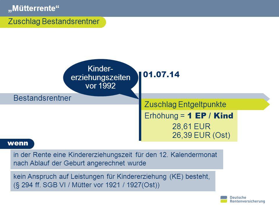 """""""Mütterrente Mütter vor 1921/ 1927 (Ost) Kindesgeburt vor 1921 bzw. 1927. 01.07.14. Erhöhung der Leistung für KE."""
