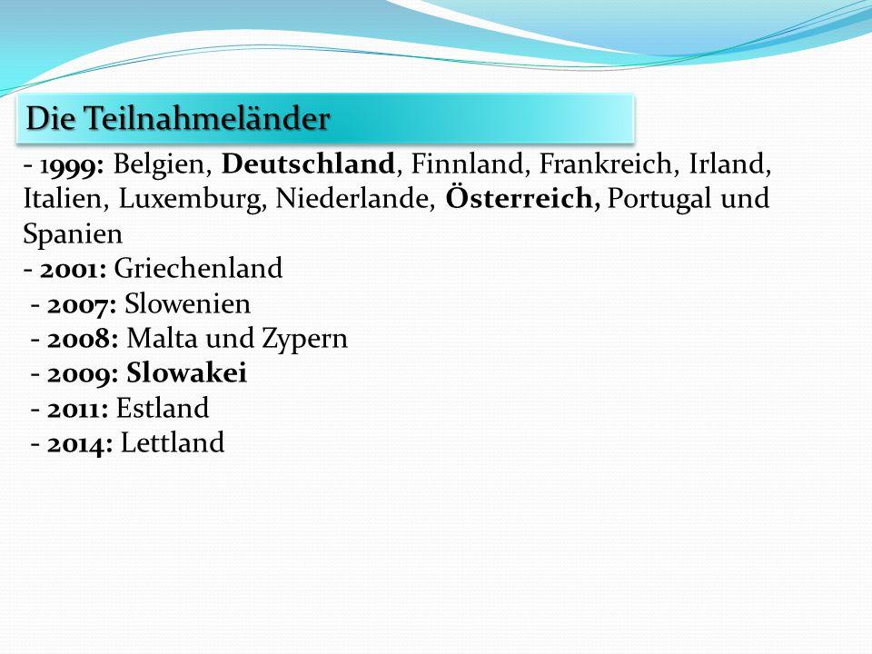 Die Teilnahmeländer - 1999: Belgien, Deutschland, Finnland, Frankreich, Irland, Italien, Luxemburg, Niederlande, Österreich, Portugal und Spanien.