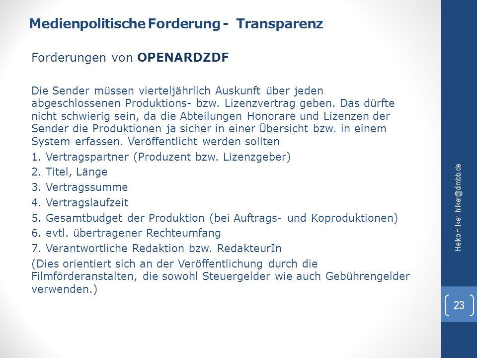 Medienpolitische Forderung - Transparenz