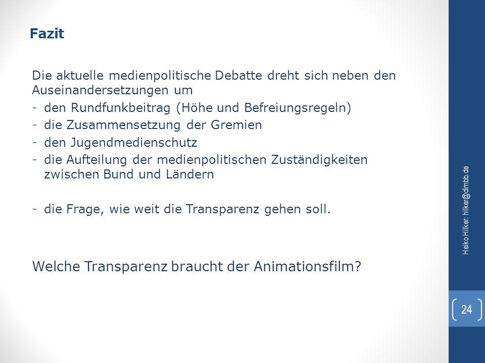 Welche Transparenz braucht der Animationsfilm