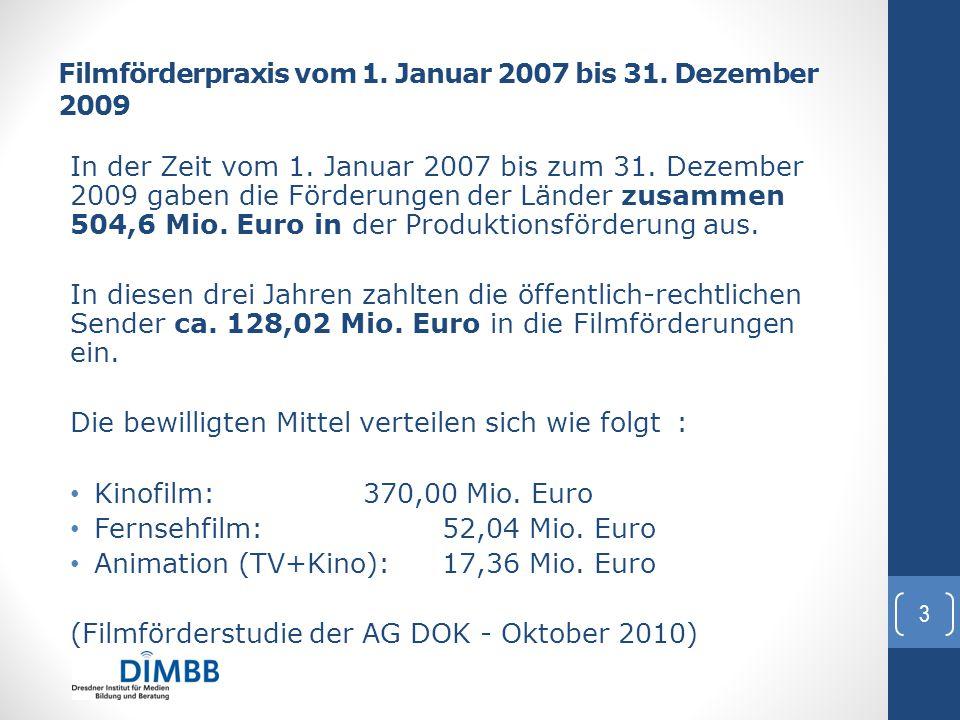 Filmförderpraxis vom 1. Januar 2007 bis 31. Dezember 2009