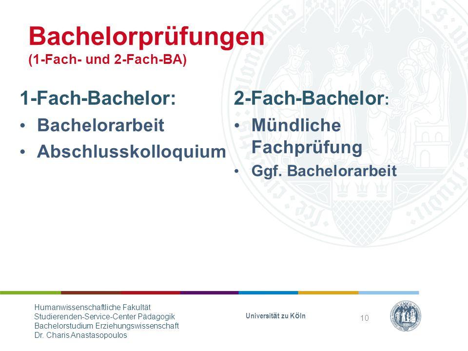 Bachelorprüfungen (1-Fach- und 2-Fach-BA)
