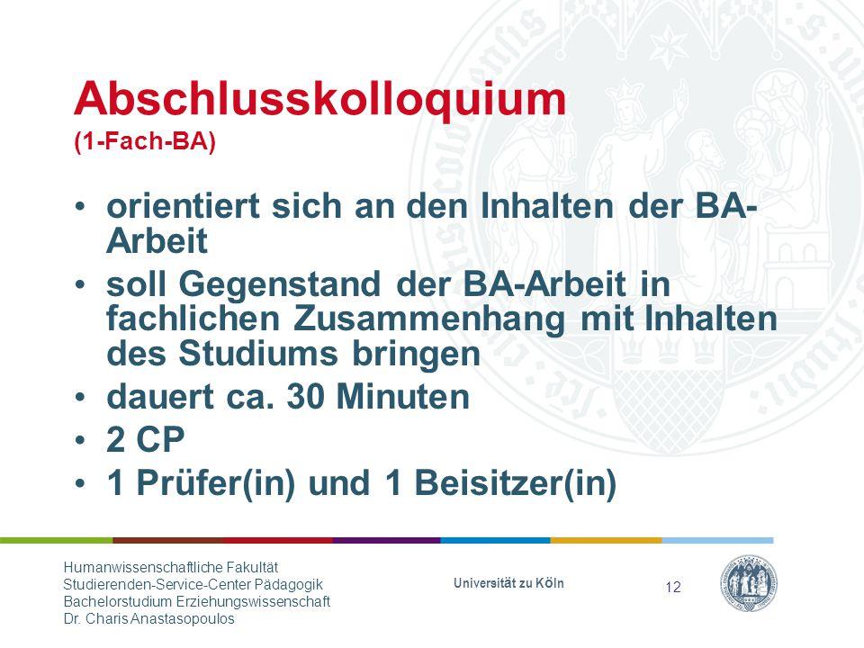 Abschlusskolloquium (1-Fach-BA)