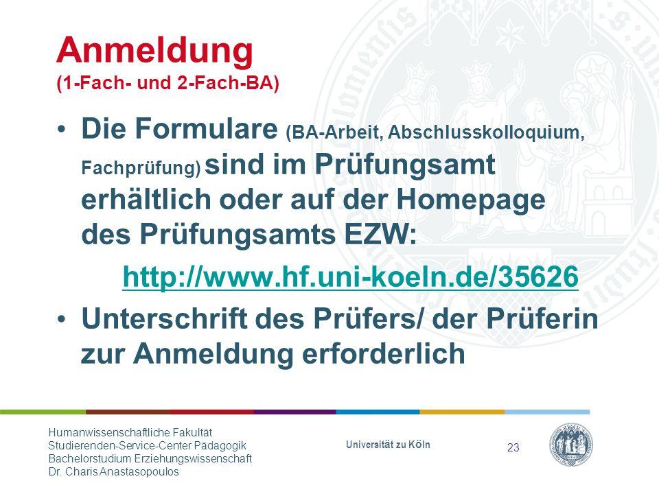 Anmeldung (1-Fach- und 2-Fach-BA)