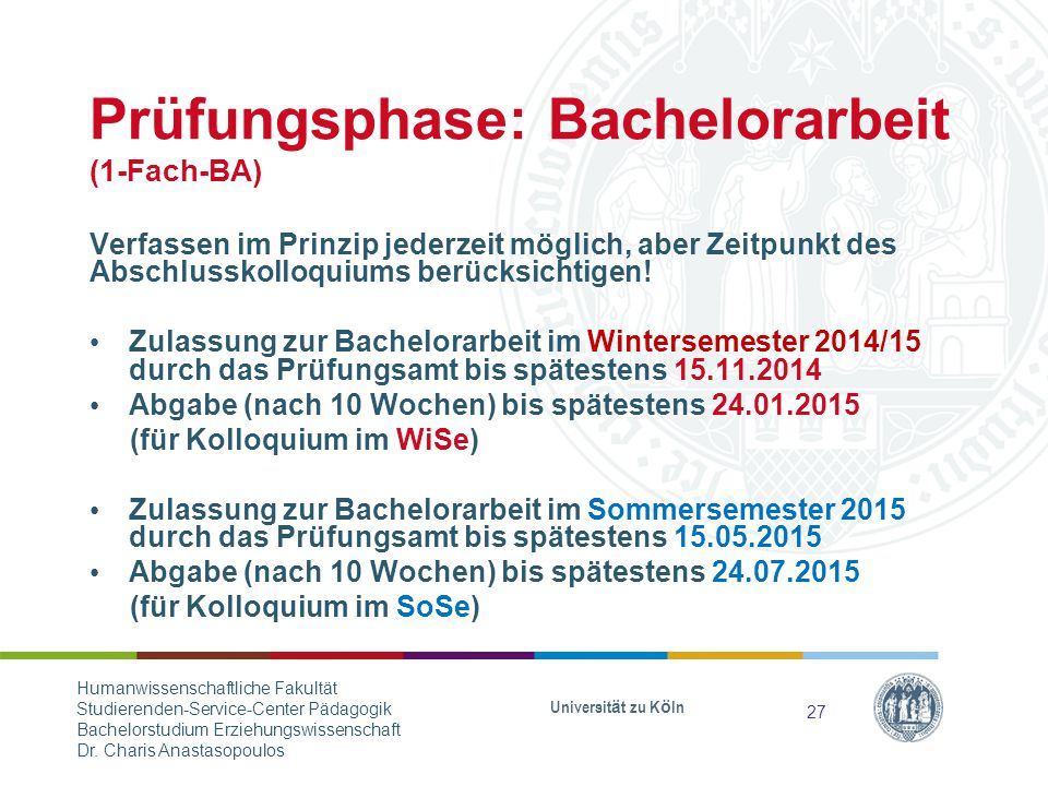 Prüfungsphase: Bachelorarbeit (1-Fach-BA)