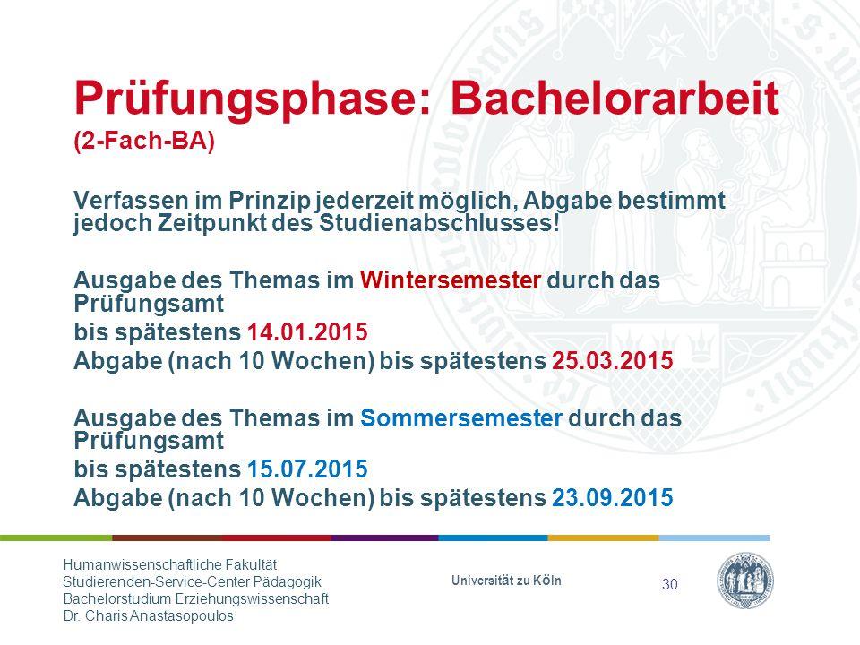 Prüfungsphase: Bachelorarbeit (2-Fach-BA)