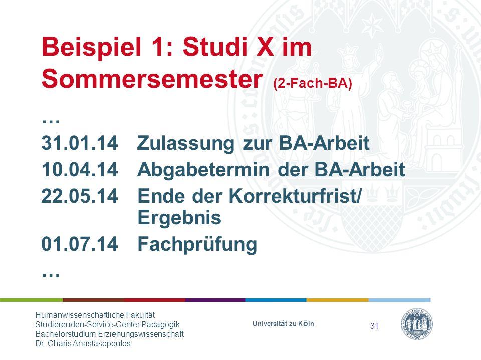 Beispiel 1: Studi X im Sommersemester (2-Fach-BA)
