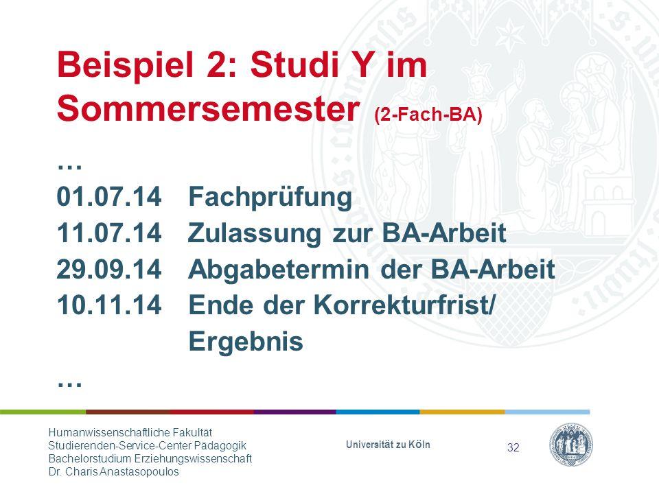 Beispiel 2: Studi Y im Sommersemester (2-Fach-BA)