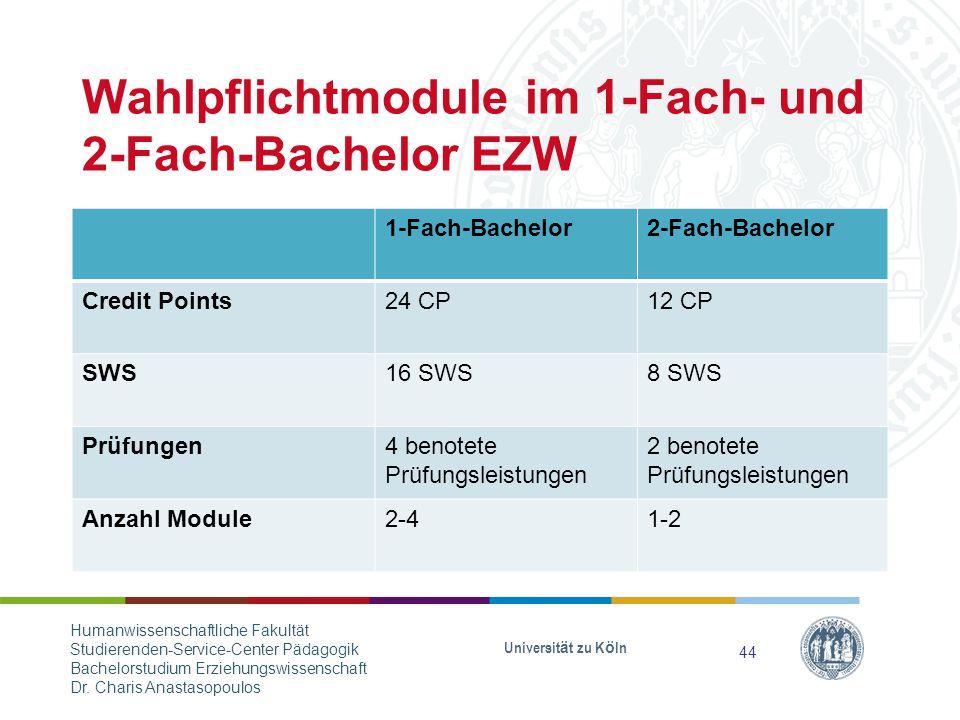Wahlpflichtmodule im 1-Fach- und 2-Fach-Bachelor EZW