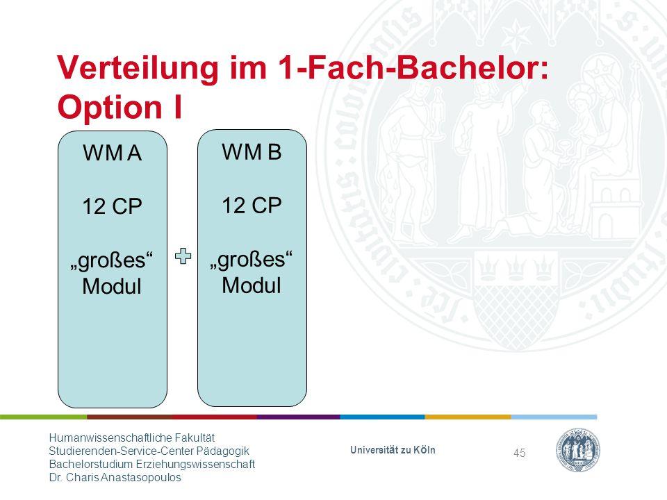 Verteilung im 1-Fach-Bachelor: Option I