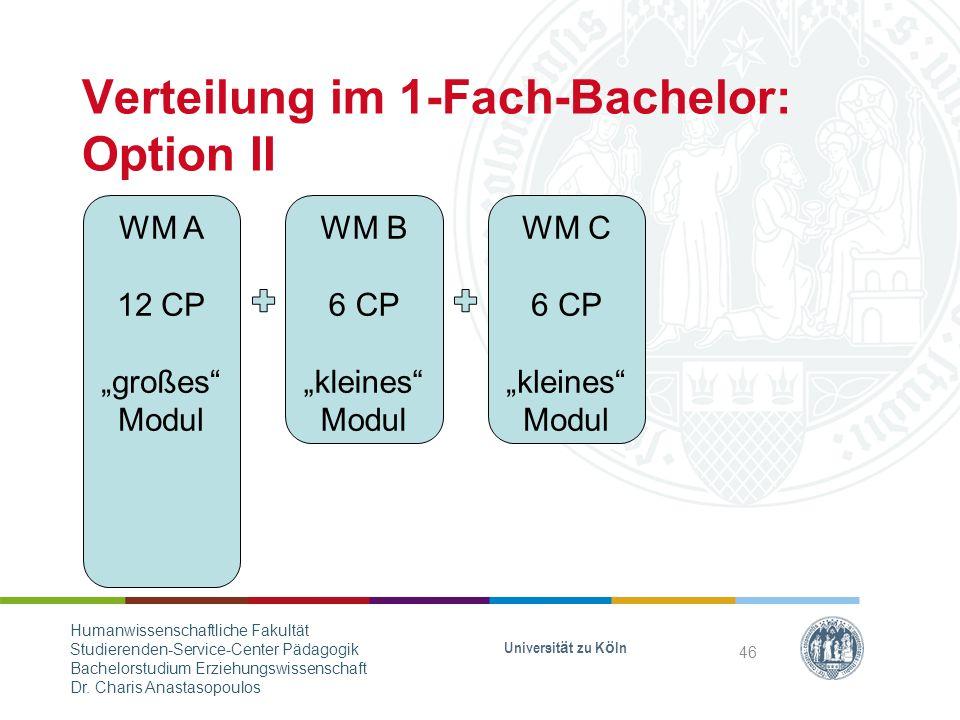 Verteilung im 1-Fach-Bachelor: Option II