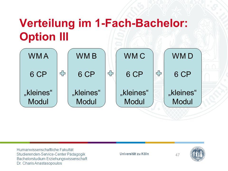 Verteilung im 1-Fach-Bachelor: Option III