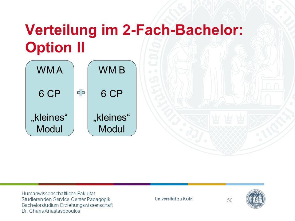 Verteilung im 2-Fach-Bachelor: Option II