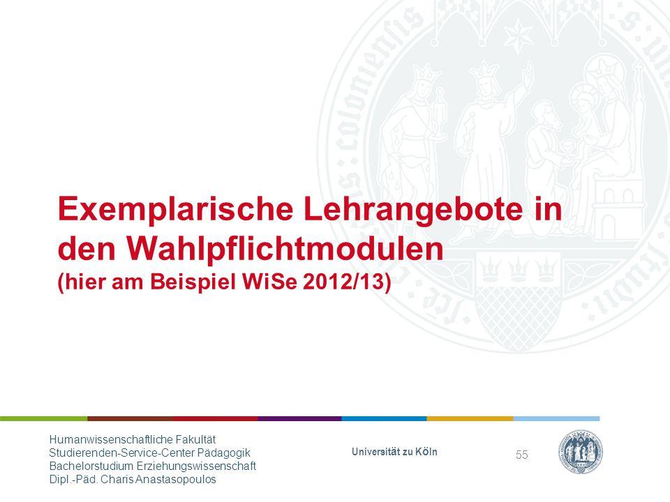 Exemplarische Lehrangebote in den Wahlpflichtmodulen (hier am Beispiel WiSe 2012/13)