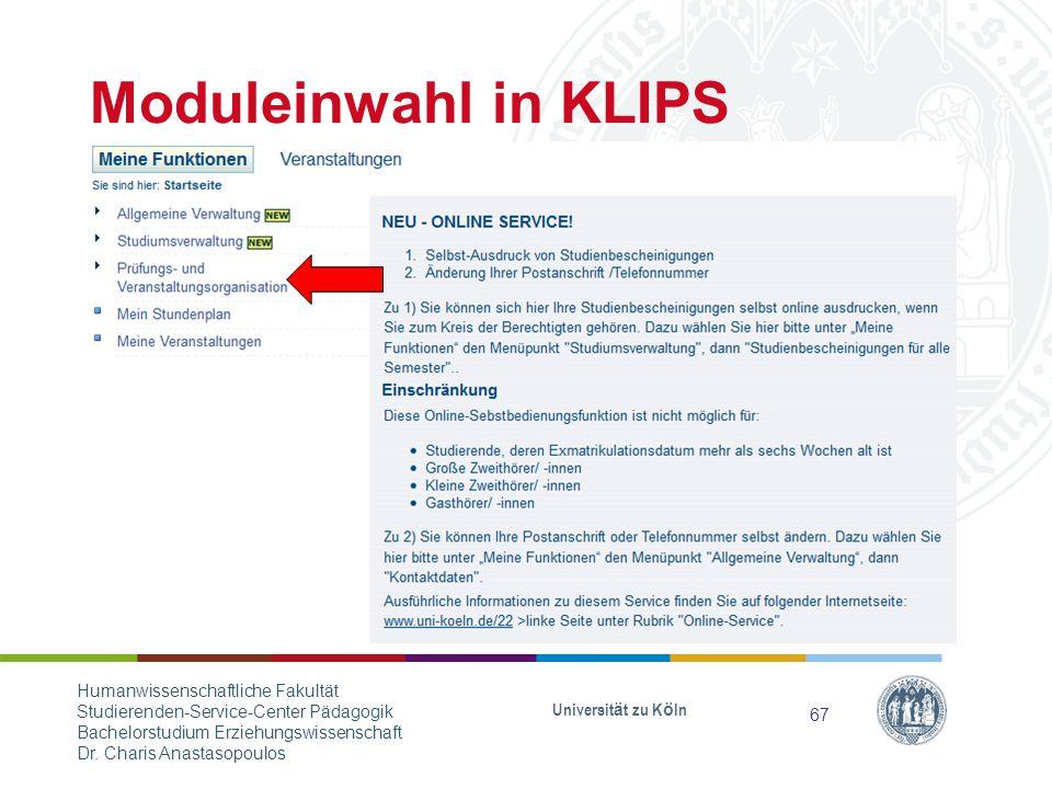 Moduleinwahl in KLIPS Humanwissenschaftliche Fakultät
