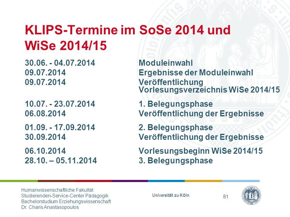 KLIPS-Termine im SoSe 2014 und WiSe 2014/15