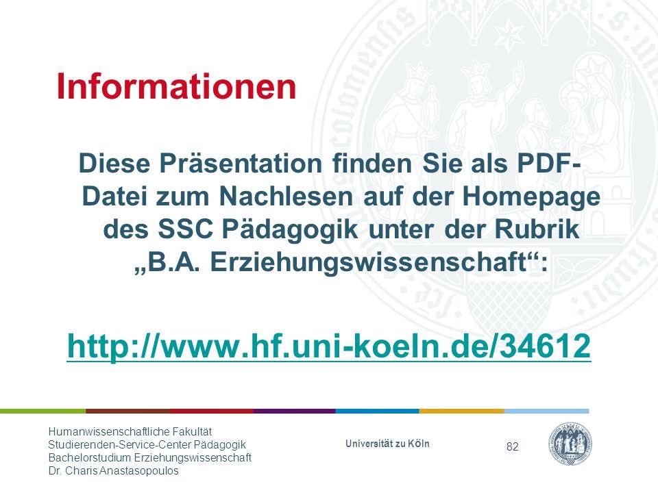 Informationen http://www.hf.uni-koeln.de/34612